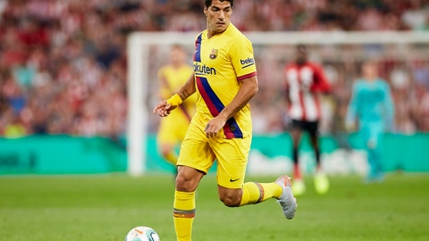 <p>               FC Barcelona's Luis Suarez controls the ball during the Spanish La Liga soccer match between Athletic Bilbao and FC Barcelona at San Mames stadium in Bilbao, northern Spain, Friday, Aug. 16, 2019. (AP Photo/Ion Alcoba Beitia)             </p>