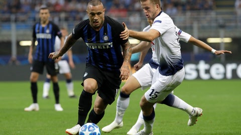 <p>               FILE - In this Tuesday, Sept. 18, 2018 file photo, Tottenham defender Eric Dier, right, vies for the ball with Inter midfielder Radja Nainggolan during the Champions League, group B soccer match between Inter Milan and Tottenham Hotspur, at the Milan San Siro Stadium, Italy. Inter Milan midfielder Radja Nainggolan has officially returned to Cagliari on loan, following a disappointing season with the Nerazzurri. Cagliari announced the season-long loan deal on Monday, Aug. 5, 2019. (AP Photo/Luca Bruno, File)             </p>