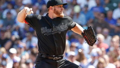<p>               Washington Nationals starting pitcher Stephen Strasburg delivers against the Chicago Cubs during the second inning of a baseball game, Sunday, Aug. 25, 2019, in Chicago. (AP Photo/Kamil Krzaczynski)             </p>