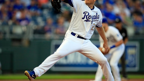 <p>               Kansas City Royals starting pitcher Mike Montgomery delivers to a New York Mets batter during the first inning of a baseball game at Kauffman Stadium in Kansas City, Mo., Friday, Aug. 16, 2019. (AP Photo/Orlin Wagner)             </p>