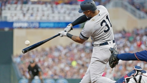 <p>               New York Yankees' Aaron Hicks hits an RBI single off Minnesota Twins pitcher Jake Odorizzi in the fourth inning of a baseball game Wednesday, July 24, 2019, in Minneapolis. (AP Photo/Jim Mone)             </p>