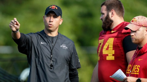 <p>               FILE - In this Aug. 2, 2019, file photo, Iowa State coach Matt Campbell, left, talks with offensive lineman Bryce Meeker (74) during an NCAA college football practice, in Ames, Iowa. (AP Photo/Charlie Neibergall, File)             </p>
