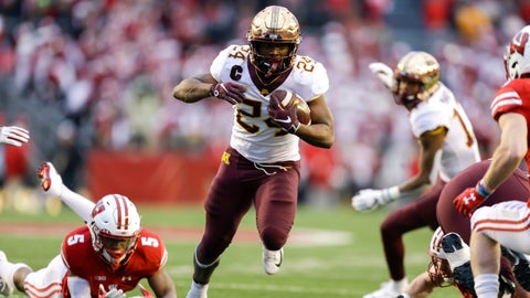 <p>               FILE - In this Nov. 24, 2018, file photo, Minnesota running back Mohamed Ibrahim (24) runs past Wisconsin cornerback Rachad Wildgoose (5) during the first half of an NCAA college football game, in Madison, Wis. Minnesota takes a stacked offense and increased confidence into the third season under coach P.J. Fleck, but the Gophers better be prepared for their opener against neighbor South Dakota State, which is ranked fourth in the FCS poll. (AP Photo/Andy Manis, File)             </p>