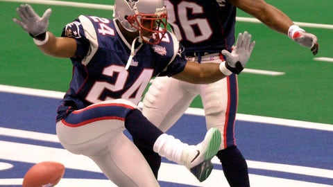 <p>               FILE - In this Feb. 3, 2002, file photo, New England Patriots cornerback Ty Law (24) celebrates his interception for a touchdown against St. Louis in the second quarter of Super Bowl XXXVI, with teammate Lawyer Milloy (36) at the Louisiana Superdome in New Orleans. Law will be inducted into the Pro Football Hall of Fame in Canton, Ohio on Aug. 3, 2019. (AP Photo/Tony Gutierrez, File)             </p>