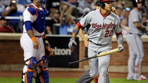 <p>               Washington Nationals' Juan Soto, right, watches his home run during the eighth inning of a baseball game against the New York Mets, Saturday, Aug. 10, 2019, in New York. (AP Photo/Seth Wenig)             </p>