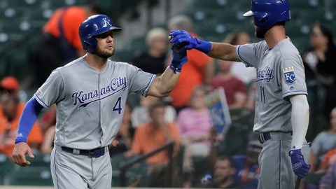 <p>               Kansas City Royals' Alex Gordon, left, is greeted near the dugout by Bubba Starling after scoring on a sacrifice fly by Meibrys Viloria during the second inning of the team's baseball game against the Baltimore Orioles, Tuesday, Aug. 20, 2019, in Baltimore. (AP Photo/Julio Cortez)             </p>