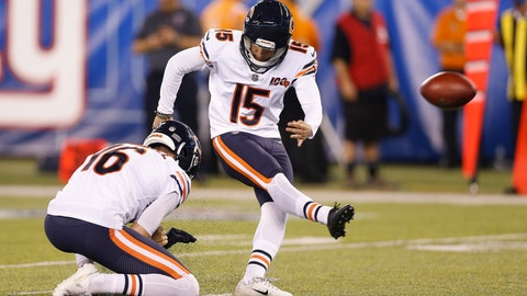 <p>               FILE - In this Aug. 16, 2019, file photo, Chicago Bears kicker Eddy Pineiro (15) kicks a field goal as punter Pat O'Donnell (16) holds during a preseason NFL football game against the New York Giants in East Rutherford, N.J. Pineiro emerged the winner in a kicking battle with Elliott Fry, and countless other candidates earlier. Pineiro has a strong leg, but has never kicked in a regular-season NFL game. (AP Photo/Adam Hunger, File)             </p>