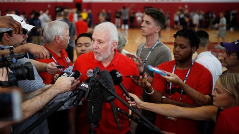 <p>               FILE - In this July 26, 2018, file photo, head coach head coach Gregg Popovich speaks with the media during a training camp for USA Basketball, in Las Vegas. USA Basketball opened training camp Monday, Aug. 5, 2019, for the FIBA World Cup, which starts Aug. 31 in China. (AP Photo/John Locher, File)             </p>