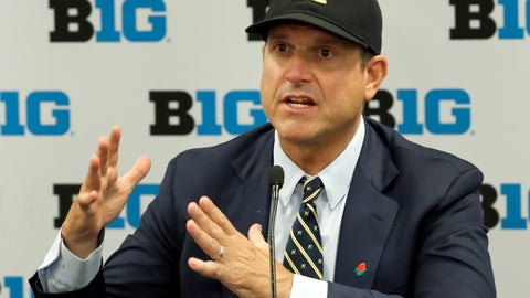 <p>               FILE - In this July 19, 2019, file photo, Michigan head coach Jim Harbaugh responds to a question during the Big Ten Conference NCAA college football media days in Chicago. The strength of Michigan's schedule is its balance. (AP Photo/Charles Rex Arbogast, File)             </p>