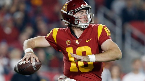 <p>               FILE - In this Nov. 10, 2018, file photo, Southern California quarterback JT Daniels (18) throws a pass during the second half of an NCAA college football game against California in Los Angeles. Sophomore J.T. Daniels was resolute he is the best man for the job after retaining his starting job. (AP Photo/Alex Gallardo, File)             </p>