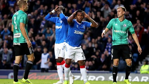 <p>               Rangers' Sheyi Ojo, left, and Alfredo Morelos, right, react during the UEFA Europa League match at Ibrox Stadium, in Glasgow Thursday August 29, 2019. (Britain Soccer Europa League via AP)             </p>