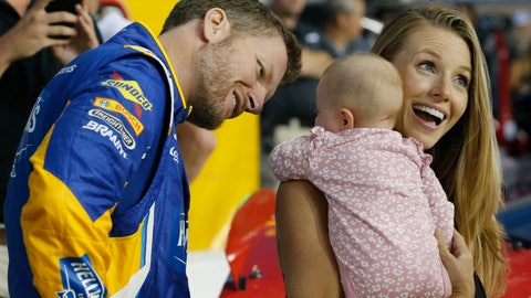 <p>               FILE - In this Sept. 21, 2018, file photo, Dale Earnhardt Jr. looks at his daughter, Isla, and his wife Amy on pit row prior to an Xfinity Series NASCAR auto race at Richmond Raceway in Richmond, Va. Earnhardt Jr. will take the weekend off from broadcasting to be with his wife and daughter after the three were in a plane crash landing Thursday, Aug. 15, 2019, near Bristol Motor Speedway. (AP Photo/Steve Helber, File)             </p>