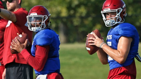 <p>               FILE - In this Monday, Aug. 5, 2019, file photo, Oklahoma quarterbacks Jalen Hurts, left, and Tanner Mordecai, right, throw during NCAA college football practice in Norman, Okla. Hurts is competing with  Mordecai, a redshirt freshman, and Spencer Rattler, a true freshman, to become starting quarterback. (AP Photo/Sue Ogrocki, File)             </p>