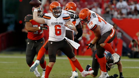 <p>               FILE - In this Friday, Aug. 23, 2019 file photo, Cleveland Browns quarterback Baker Mayfield (6) throws a pass against the Tampa Bay Buccaneers during the first half of an NFL preseason football game in Tampa, Fla. Baker Mayfield has a new teammate, and she rocks a headband too. The Browns' charismatic quarterback has entered a marketing partnership with Progressive and will star alongside his wife, Emily Wilkinson, in a national advertising campaign for the insurance giant in which the couple plays homeowners inside a football stadium.  (AP Photo/Mark LoMoglio, File)             </p>