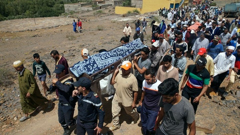 <p>               Security forces carry the body of a man who died in a flash flood in Tizert, near the southern region of Taroudant, Morocco, Thursday, Aug. 29, 2019. Morocco's official MAP news agency says that seven people watching a local soccer match in a southern village have died in a flash flood that swept across a football field on Wednesday evening. (AP Photo/Mohamed Amerkad)             </p>