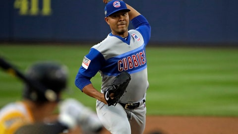 <p>               Chicago Cubs starting pitcher Jose Quintana delivers during the first inning of the Little League Classic baseball game against the Pittsburgh Pirates at Bowman Stadium in Williamsport, Pa., Sunday, Aug. 18, 2019. (AP Photo/Gene J. Puskar)             </p>