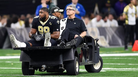 <p>               FILE - In this Jan. 13, 2019, file photo, New Orleans Saints defensive tackle Sheldon Rankins (98) leaves the field after an injury in the first half of an NFL divisional playoff football game against the Philadelphia Eagles in New Orleans. Rankins has returned to practice for the first time since tearing his Achilles tendon in New Orleans' divisional round playoff victory over Philadelphia last January. Saints coach Sean Payton says he does not think it is realistic that Rankins would play in the regular season opener. (AP Photo/Bill Feig, File)             </p>