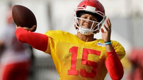 <p>               Kansas City Chiefs quarterback Patrick Mahomes throws the ball during NFL football training camp Monday, July 29, 2019, in St. Joseph, Mo. (AP Photo/Charlie Riedel)             </p>