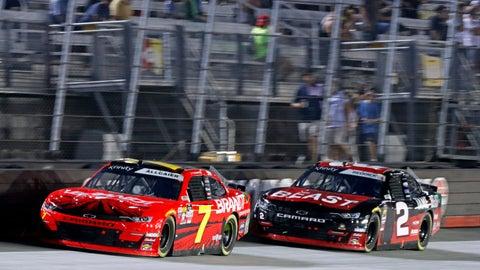 <p>               Justin Allgaier (7) leads Tyler Reddick (2) during the NASCAR Xfinity Series auto race Friday, Aug. 16, 2019, in Bristol, Tenn. (AP Photo/Wade Payne)             </p>