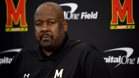 <p>               Maryland head coach Mike Locksley addresses the media during a news conference before NCAA college football practice, Friday, Aug. 2, 2019, in College Park, Md. (AP Photo/Will Newton)             </p>