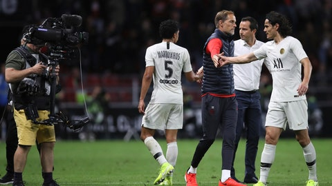 <p>               PSG's head coach Thomas Tuchel, center, greets his players after the French League One soccer match between Rennes and Paris Saint Germain, in Rennes, Sunday, Aug. 18, 2019. Rennes won the match 2-1. (AP Photo/David Vincent)             </p>