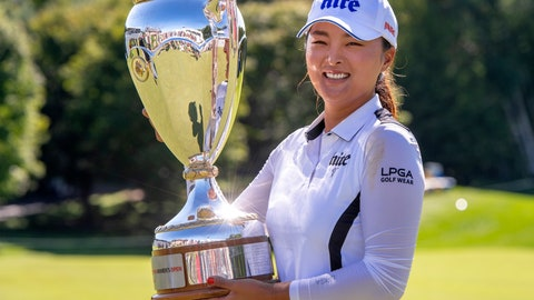 <p>               Jin Young Ko of South Korea poses with the trophy after winning the CP Women's Open in Aurora, Ontario, Sunday, Aug. 25, 2019.  (Frank Gunn/The Canadian Press via AP)             </p>