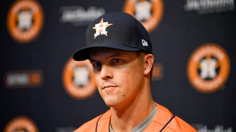<p>               Houston Astros pitcher Zack Greinke speaks to the media during a press conference before a baseball game between the Houston Astros and the Seattle Mariners, Friday, Aug. 2, 2019, in Houston. Greinke was acquired via a trade with the Arizona Diamondbacks on July 31. (AP Photo/Eric Christian Smith)             </p>