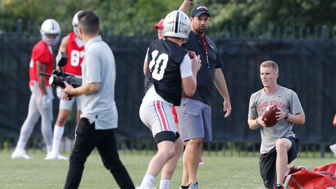 <p>               Ohio State head coach Ryan Day watches the quarterbacks during NCAA college football practice, Friday, Aug. 2, 2019, in Columbus, Ohio. (AP Photo/Jay LaPrete)             </p>