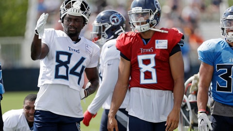 <p>               Tennessee Titans wide receiver Corey Davis (84) talks with quarterback Marcus Mariota (8) during NFL football training camp Wednesday, July 31, 2019, in Nashville, Tenn. (AP Photo/Mark Humphrey)             </p>