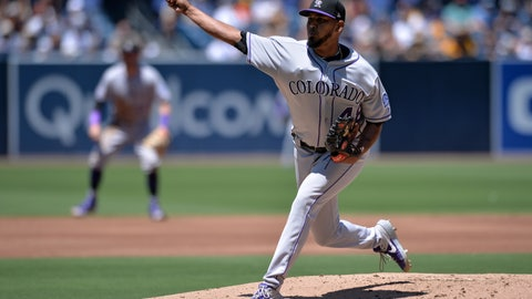 <p>               Colorado Rockies starting pitcher German Marquez works against a San Diego Padres batter during the first inning of a baseball game Sunday, Aug. 11, 2019, in San Diego. (AP Photo/Orlando Ramirez)             </p>