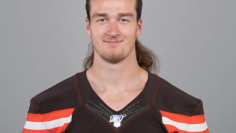 """<p>               File-This May 2, 2019 photo  shows of Jamie Gillan of the Cleveland Browns NFL football team. A Browns undrafted rookie punter, Gillan, nicknamed """"The Scottish Hammer,"""" has beaten out veteran Britton Colquitt. Gillan won the starting job with solid performances in the past two preseason games, but it's still surprising the Browns would take him over Colquitt, who was a Pro Bowl alternate last season and has spent nine seasons in the NFL. He won a Super Bowl ring with Denver.  (AP Photo, File)             </p>"""