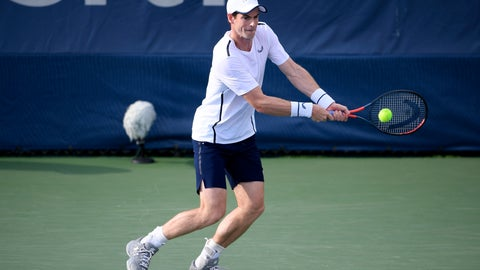 <p>               Andy Murray returns the ball as he and Jamie Murray, both of Britain, played a doubles match against Raven Klaasen, of South Africa, and Michael Venus, of New Zealand, in the Citi Open tennis tournament, Friday, Aug. 2, 2019, in Washington. (AP Photo/Nick Wass)             </p>