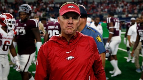 <p>               FILE - In this Sept. 29, 2018, file photo, Arkansas Razorbacks head coach Chad Morris walks off the field after a 24-17 loss to Texas A&M in an NCAA college football game  in Arlington, Texas. The Razorbacks' 2-10 record yielded the worst winning percentage and tied for the second lowest number of total wins in school history. (AP Photo/Roger Steinman, File)             </p>