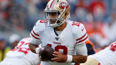 <p>               FILE - In this Aug. 19, 2019, file photo, San Francisco 49ers quarterback Jimmy Garoppolo (10) looks to hand the ball off during the first half of the team's NFL preseason football game against the Denver Broncos in Denver. Garoppolo remains a mostly untested commodity with 10 career starts in five seasons and has struggled in training camp and exhibitions. He must show that the Niners made the right choice when they invested in him. (AP Photo/David Zalubowski, File)             </p>