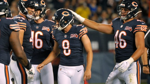 <p>               The Chicago Bears congratulate kicker Elliott Fry (8) after he made a field goal during the first half of the team's NFL preseason football game against the Carolina Panthers on Thursday, Aug. 8, 2019, in Chicago. (AP Photo/Mark Black )             </p>