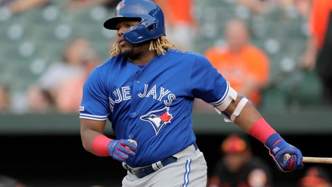 <p>               Toronto Blue Jays' Vladimir Guerrero Jr. watches his RBI single off Baltimore Orioles starting pitcher Aaron Brooks during the first inning of a baseball game Friday, Aug. 2, 2019, in Baltimore. (AP Photo/Julio Cortez)             </p>