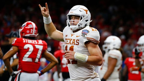 """<p>               FILE - In this Tuesday, Jan. 1, 2019 file photo, Texas quarterback Sam Ehlinger (11) celebrates his second touchdown carry in the first half of the Sugar Bowl NCAA college football game against Georgia in New Orleans. The hits came at Sam Ehlinger from just about every angle this summer. Baker Mayfield jabbed him first. Then Terry Bradshaw landed one. Texas' junior quarterback didn't seem to mind, and will likely care even less every time he gets to flash a """"Hook'em horns"""" hand sign after scoring a touchdown. Which he does a lot. Ehlinger and the Longhorns are expected to again challenge for the Big 12 title in 2019. (AP Photo/Butch Dill, File)             </p>"""