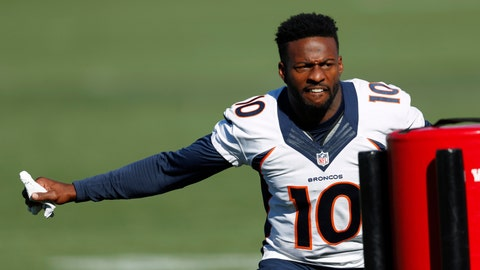 <p>               Denver Broncos wide receiver Emmanuel Sanders takes part in drills during an NFL football training camp session Tuesday, Aug. 6, 2019, in Englewood, Colo. (AP Photo/David Zalubowski)             </p>