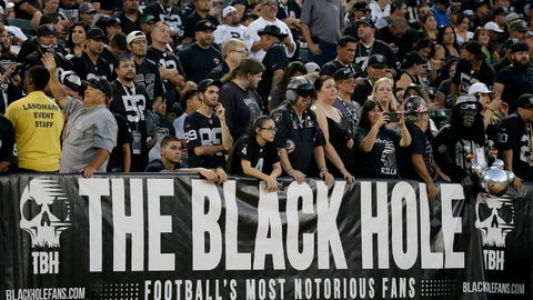 """<p>               FILE - In this Aug. 31, 2017, file photo, Oakland Raiders fans watch from the Black Hole section of Oakland Alameda County Coliseum during the first half of an NFL preseason football game between the Raiders and the Seattle Seahawks in Oakland, Calif. The slow, agonizing demise of the Oakland Raiders will continue for at least one more season. There will be one more """"final"""" home game at the Oakland Coliseum, Dec. 15 against the Jacksonville Jaguars. There have been possible """"final"""" home games for a few years now because the Raiders have essentially had one foot out the door since 2015, when they joined with the AFC West rival Chargers in a failed attempt to build a stadium in the Los Angeles suburb of Carson. (AP Photo/Eric Risberg, File)             </p>"""