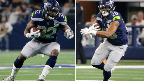<p>               FILE - At left, in a Jan. 5, 2019, file photo, Seattle Seahawks running back Chris Carson (32) runs against the Dallas Cowboys during the first half of the NFC wild-card NFL football game in Arlington, Texas. At right, also in a Jan. 5, 2019, file photo, Seattle Seahawks running back Rashaad Penny (20) carries the ball against the Dallas Cowboys during the NFC wild-card NFL football game in Arlington, Texas. Despite rushing for more than a 1,100 yards last season there's a good chance Chris Carson finds himself sharing the workload in Seattle's backfield with Rashaad Penny. And Carson sounds just fine with that. (AP Photo/Michael Ainsworth, File)             </p>