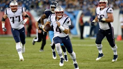 <p>               New England Patriots quarterback Jarrett Stidham (4) scrambles against the Tennessee Titans in the second half of a preseason NFL football game Saturday, Aug. 17, 2019, in Nashville, Tenn. (AP Photo/Mark Zaleski)             </p>