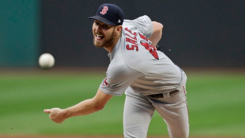 <p>               Boston Red Sox starting pitcher Chris Sale delivers in the first inning of the team's baseball game against the Cleveland Indians, Tuesday, Aug. 13, 2019, in Cleveland. (AP Photo/Tony Dejak)             </p>