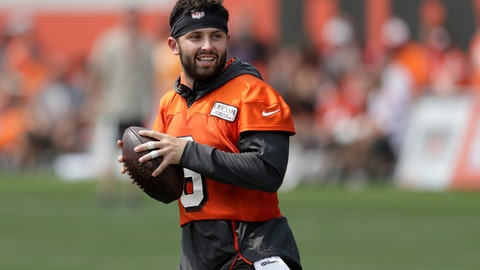 <p>               FILE - In this July 26, 2019, file photo, Cleveland Browns quarterback Baker Mayfield looks to throw during practice at the NFL football team's training camp facility in Berea, Ohio. The Browns' star quarterback, who further endeared himself to Cleveland's fervent football fans by biting into a beer can last weekend and gulping it down while attending an Indians game, has added sports drink BODYARMOR to his growing list of endorsements. (AP Photo/Tony Dejak, File)             </p>