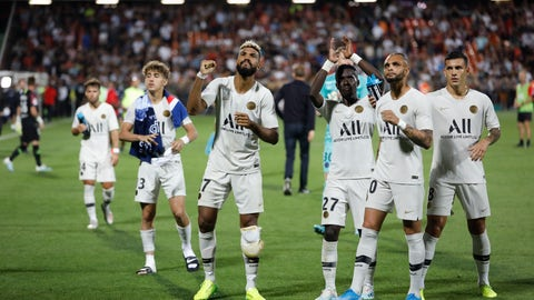 <p>               PSG's soccer players celebrate at the end of the French League One soccer match between Metz and PSG in Strasbourg, eastern France, Friday Aug. 30, 2019. (AP Photo/Jean-Francois Badias)             </p>