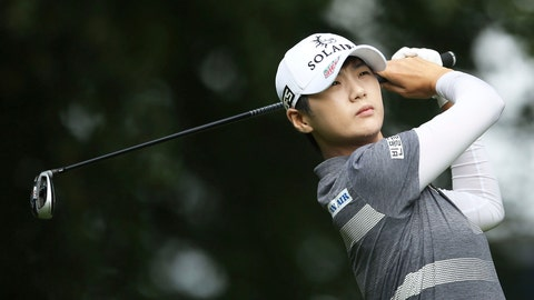 <p>               South Korea's Park Sung-hyun plays off the 12th tee on day one of the AIG Women's British Open at Woburn Golf Club, Little Brickhill, England, Thursday Aug. 1, 2019. (Steven Paston/PA via AP)             </p>