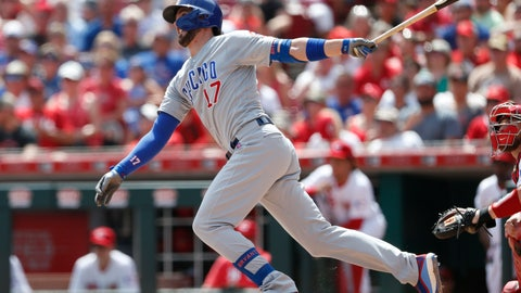<p>               Chicago Cubs' Kris Bryant (17) follows through on a three-run home run off Cincinnati Reds relief pitcher Michael Lorenzen during the seventh inning of a baseball game, Sunday, Aug. 11, 2019, in Cincinnati. (AP Photo/Gary Landers)             </p>