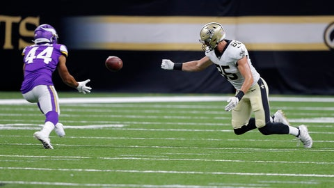 <p>               Minnesota Vikings defensive back Nathan Meadors (44) pulls in an interception for a touchdown on a bobbled pass by New Orleans Saints tight end Dan Arnold (85) in the second half of an NFL preseason football game in New Orleans, Friday, Aug. 9, 2019. (AP Photo/Bill Feig)             </p>