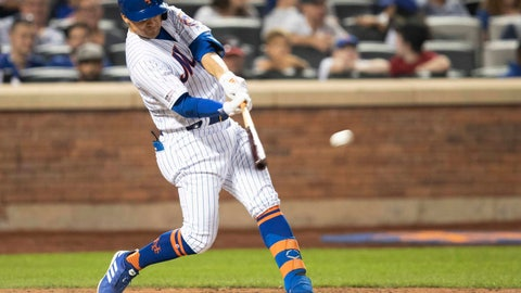 <p>               New York Mets' Pete Alonso hits a double in the seventh inning of the team's baseball game against the Miami Marlins, Tuesday, Aug. 6, 2019, in New York. (AP Photo/Mary Altaffer)             </p>