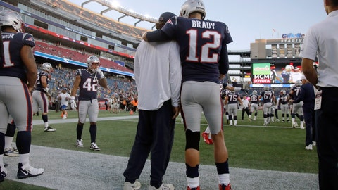 <p>               New England Patriots quarterback Tom Brady (12) stands with center David Andrews as the team warms up before an NFL preseason football game against the New York Giants, Thursday, Aug. 29, 2019, in Foxborough, Mass. (AP Photo/Elise Amendola)             </p>