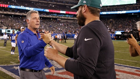 <p>               New York Giants coach Pat Shurmur, left, greets New York Jets coach Adam Gase after a preseason NFL football game Thursday, Aug. 8, 2019, in East Rutherford, N.J. The Giants won 31-22. (AP Photo/Adam Hunger)             </p>